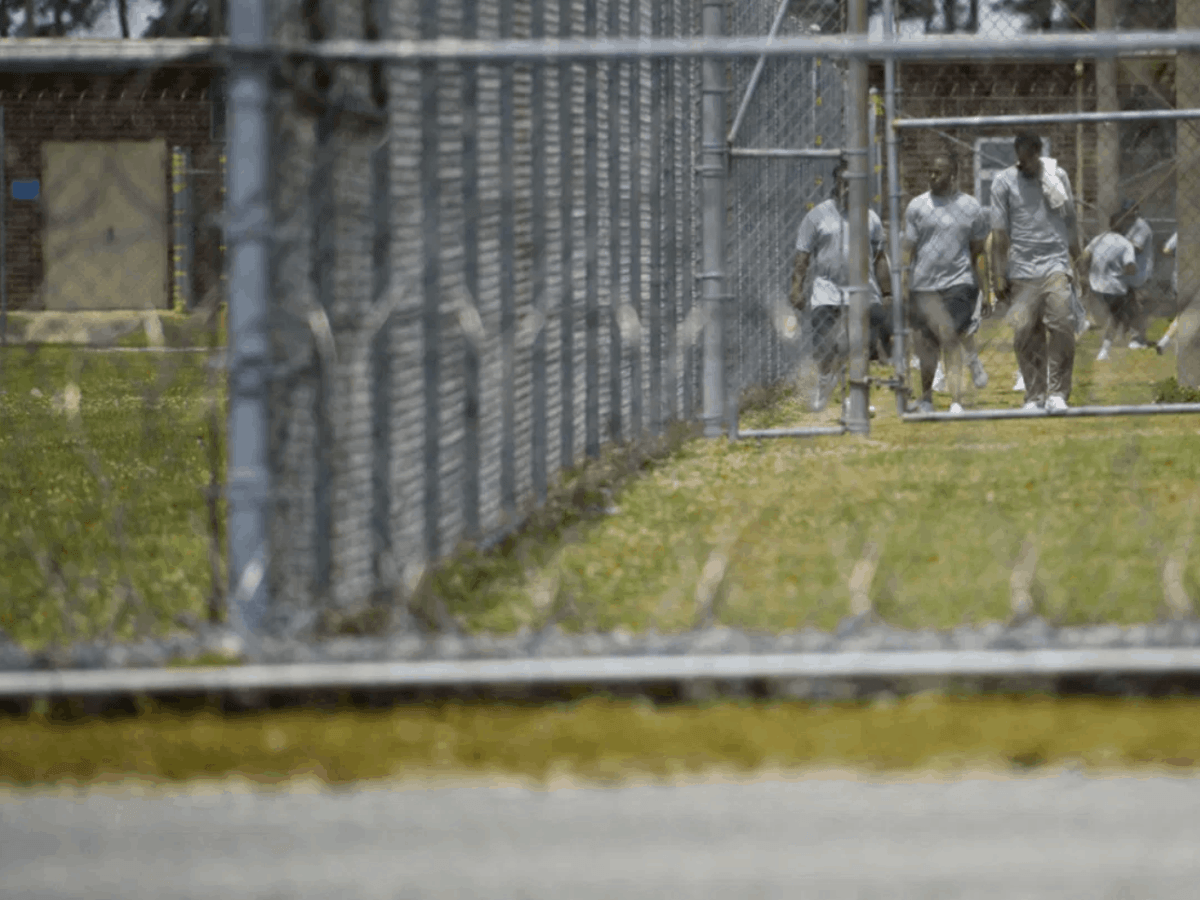 a few inmates can be seen walking down a grassy prison yard through chain link fencing