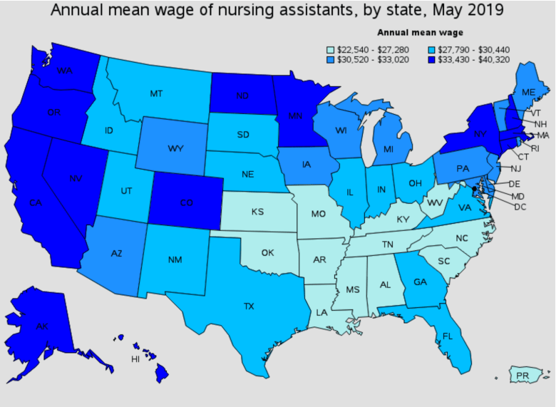 shows a map of the US with the lowest wage workers in the Southeast