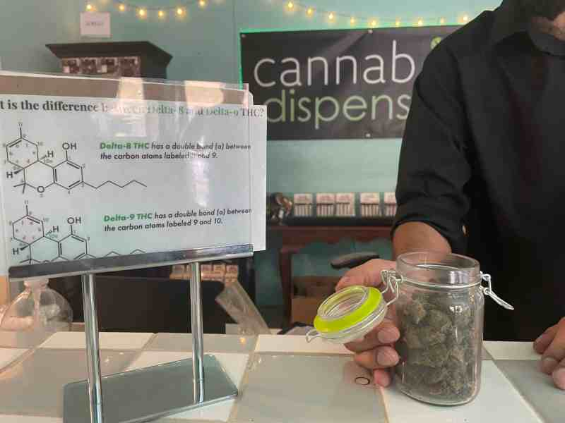 """A man wearing a black shirt holds a glass jar filled with hemp flower. Behind him is a black sign with white and green letters reading """"Cannabliss Dispensary"""