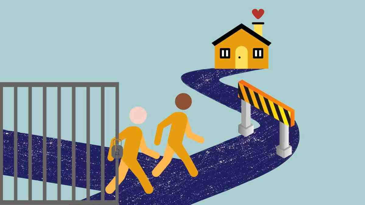 Two yellow figures emerge from behind bars and start walking down a path. At the end of the path is a house, but there is a roadblock in the way.