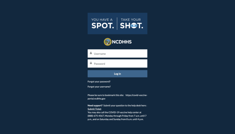 The vaccine portal on the NC DHHS website.