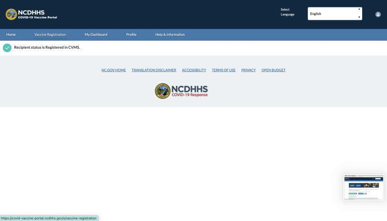 The Vaccine Registration page on the NC DHHS vaccine portal.