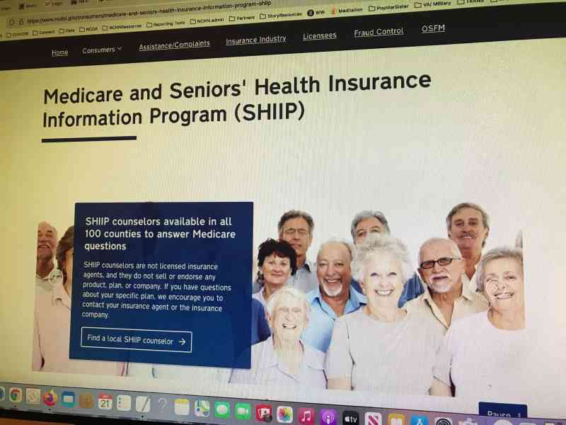 shows the home page of the North Carolina Seniors Health Insurance Information Program website