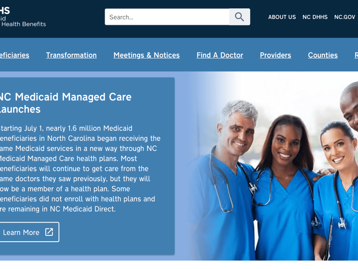 a screenshot of NCDHHS website announcing the switch to managed care