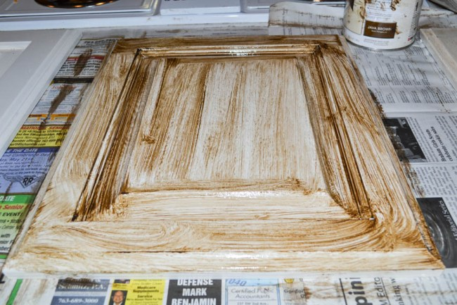 cabinet door covered with glaze