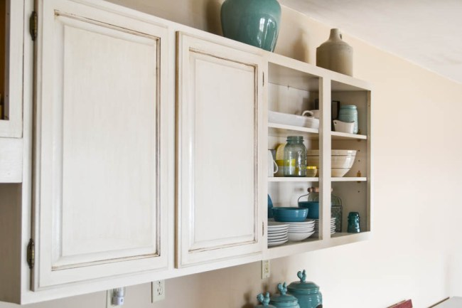 kitchen cabinets with DIY glaze for antique look