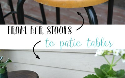 Thrift Store Bar Stools to Patio Side Tables