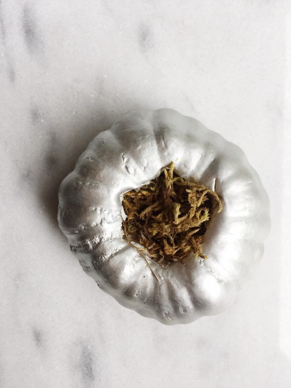 Faux pumpkin stuffed with faux spanish moss
