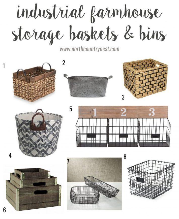 industrial farmhouse storage baskets and bins