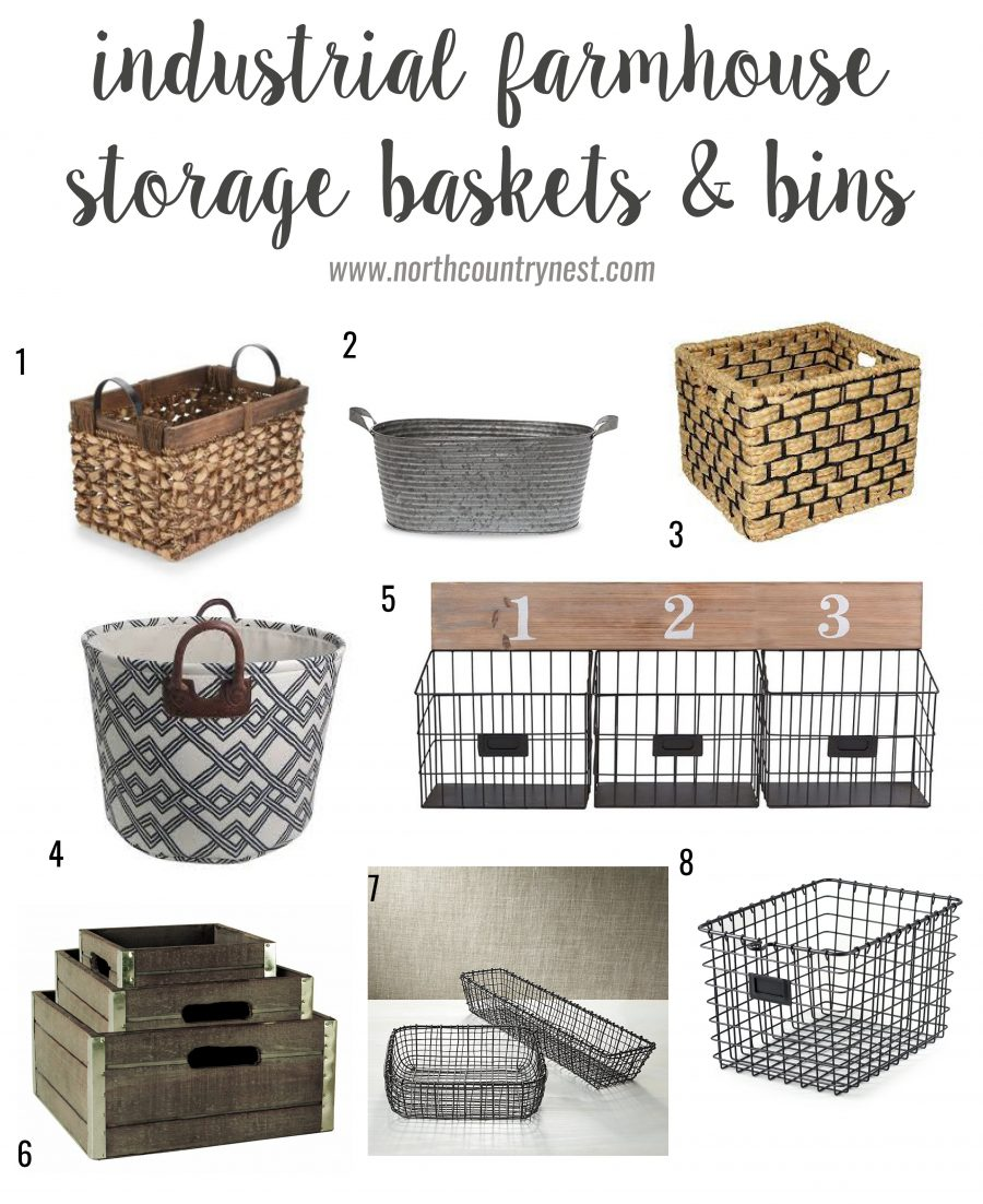 industrial farmhouse storage baskets and bins