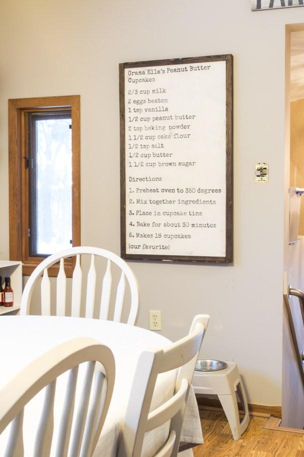 DIY recipe board wall art in kitchen