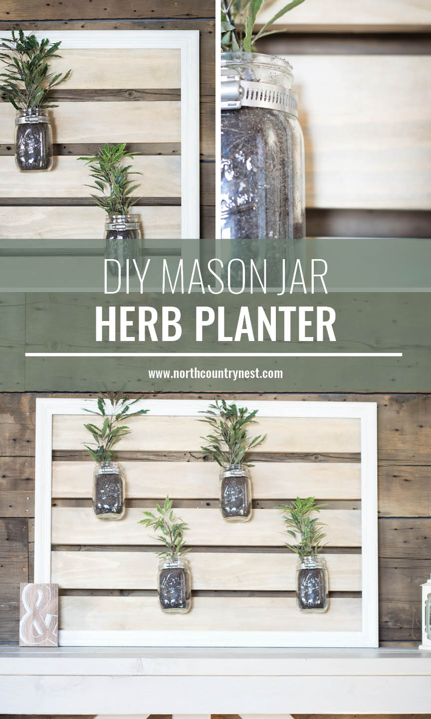 wooden planked mason jar plnter