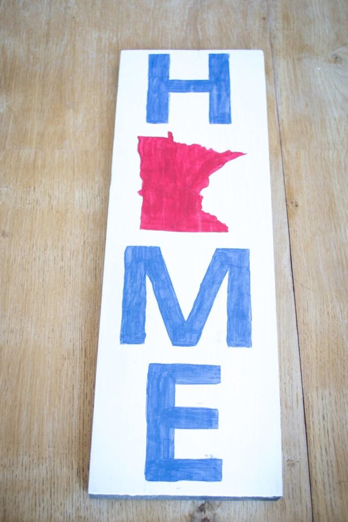 DIY Wooden Minnesota Home Sign