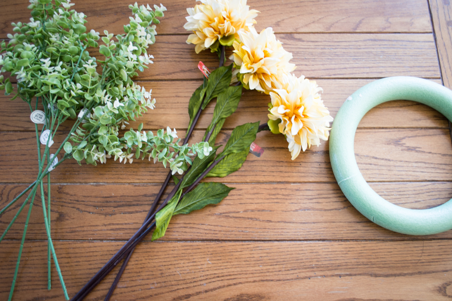 DIY Spring Wreath supplies from the dollar store