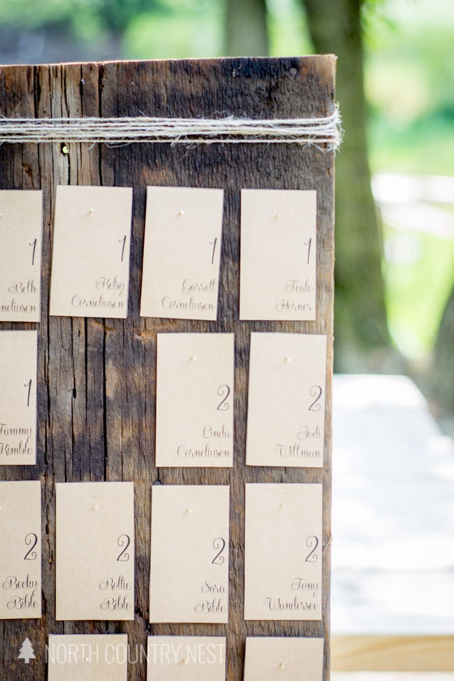 rustic wedding seating chart