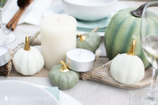 green and neutral fall tablescape