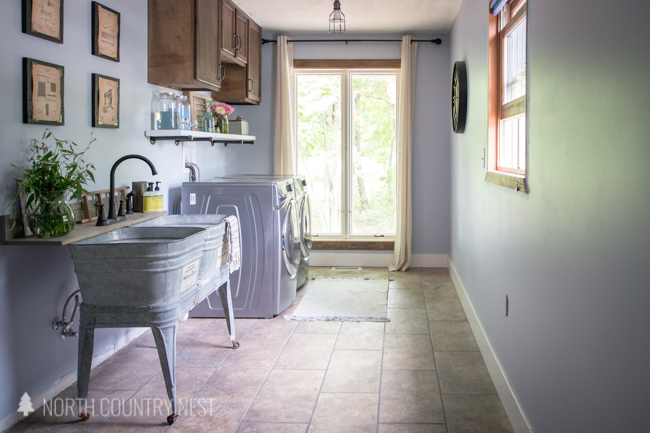 industrial style laundry room