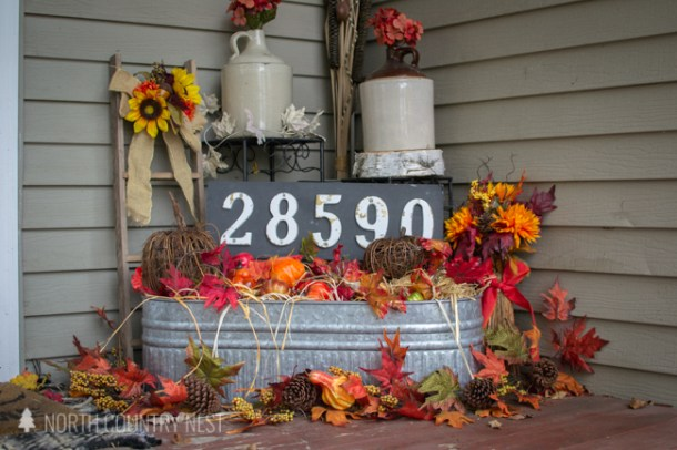 rustic and traditional fall porch decor