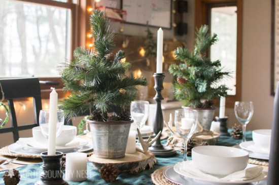 rustic buffalo check christmas table decor