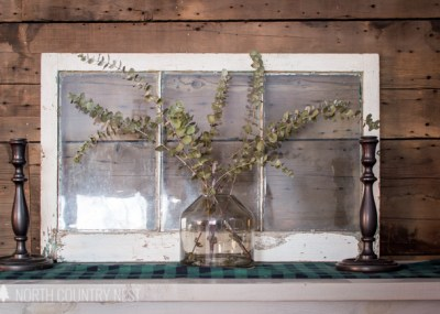 eucalyptus vase with old window on table