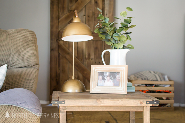 antique brass table lamp in living room