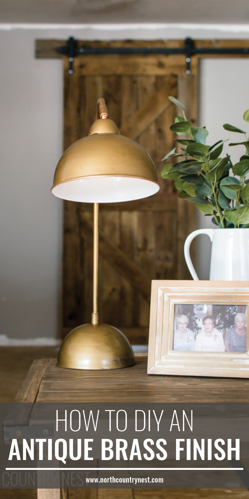 antique brass lamp on living room side table