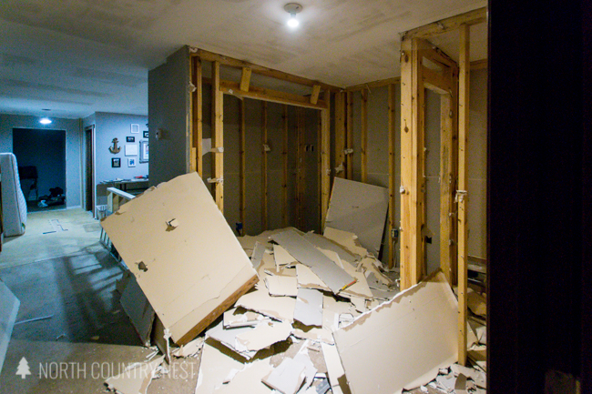 ripping out drywall in a home