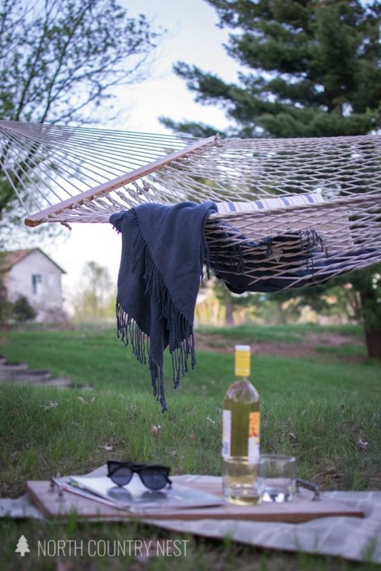 outdoor throw blanket on hammock