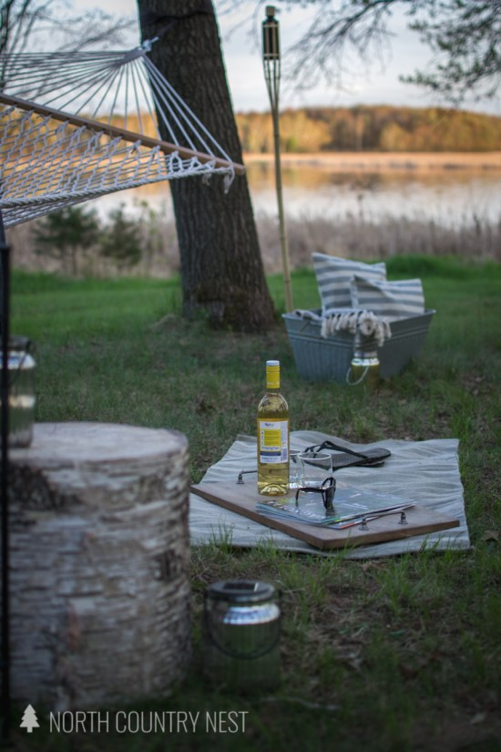 outdoor hammock area
