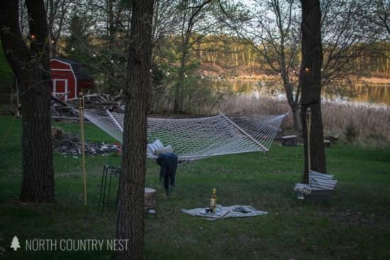 outdoor hammock at night with solar lights