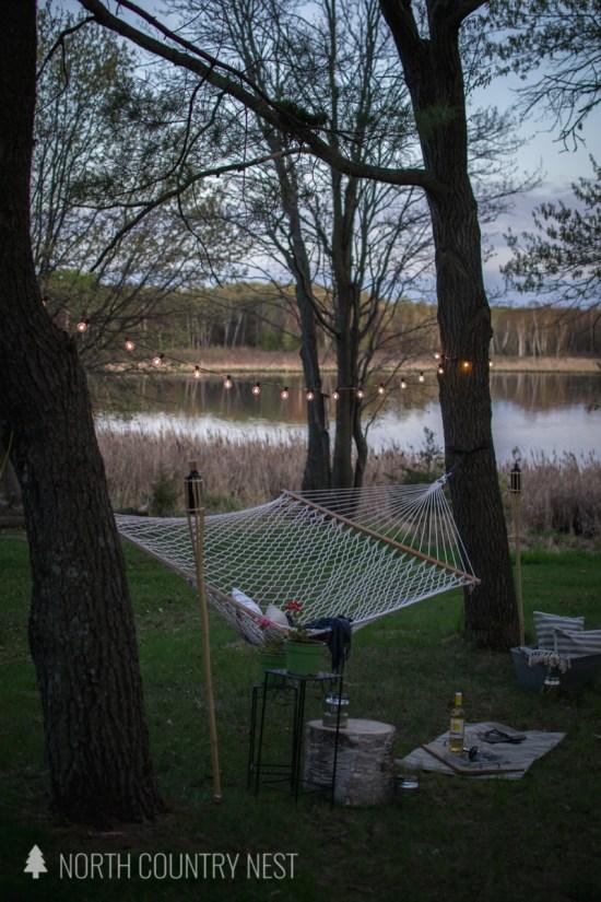 solar lights in backyard hammock area