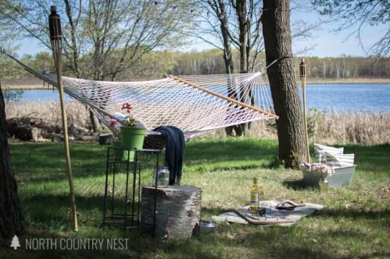 backyard hammock area on the lake
