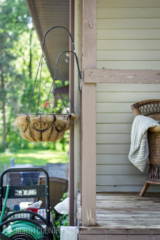 hanging planters on front porch