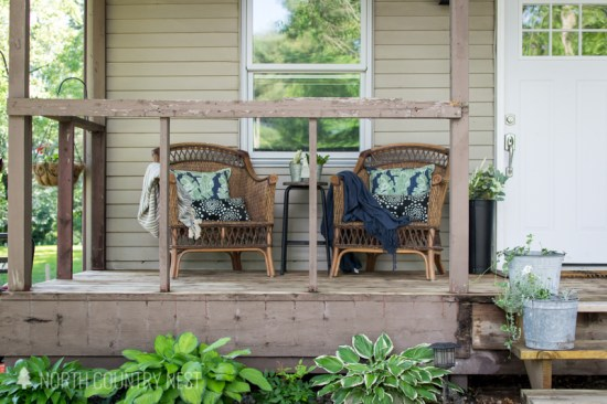 wicker chairs on front porch