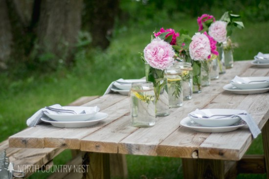 mason jar centerpiece and peonies