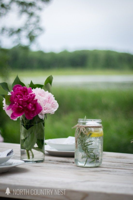mason jar and peony centerpiece