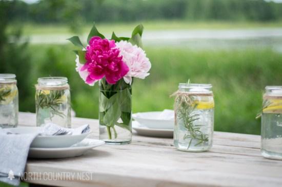 peonies and mason jar centerpiece