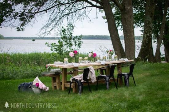 farmhouse table overlooking lake