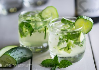 cucumber mint champagne cocktail