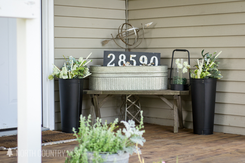 galvanized tub with house numbers