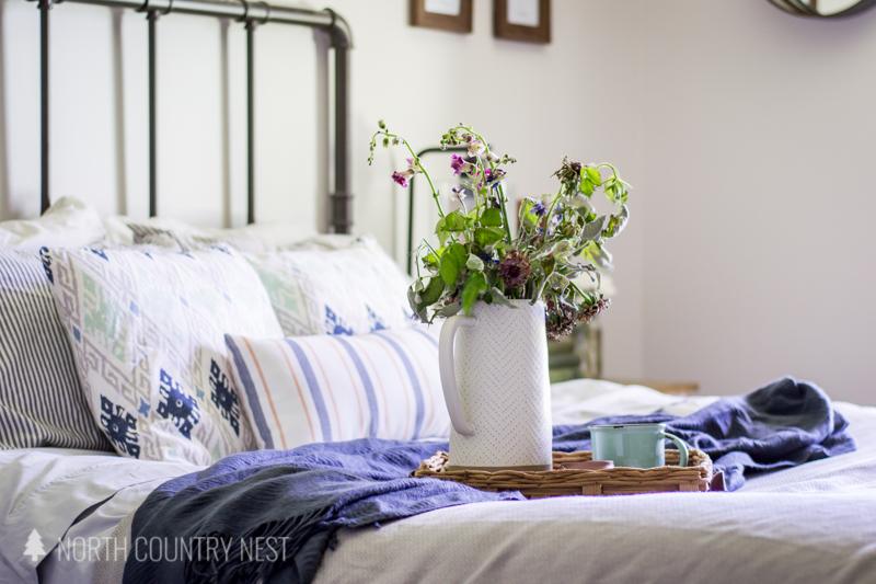 fresh flowers on bedroom tray