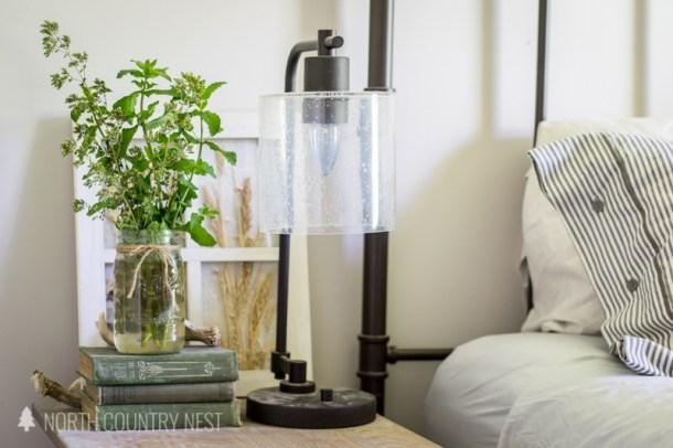 industrial lamp with mason jar