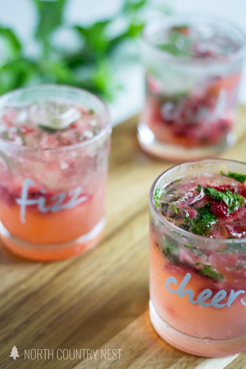 strawberry mint fizz cocktail