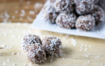 No Bake Peanut Butter + Chocolate + Rolled Coconut Gluten Free Energy Bites