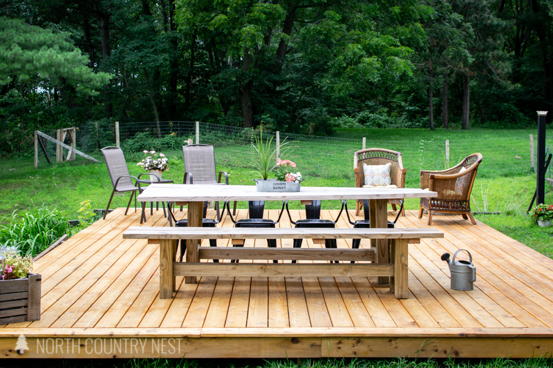 outdoor deck with dining table