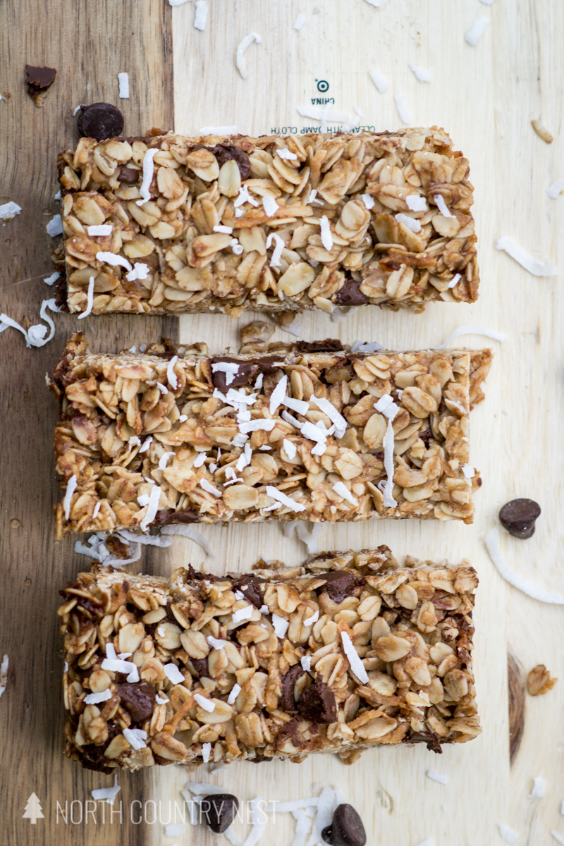 granola bars on wooden cutting board