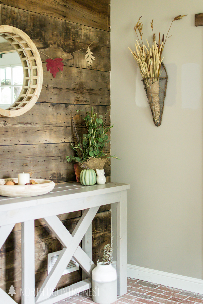 entryway with fall decor