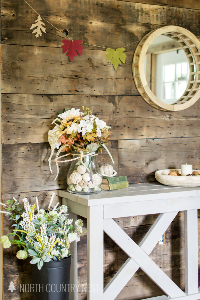fall decor and wood plank wall