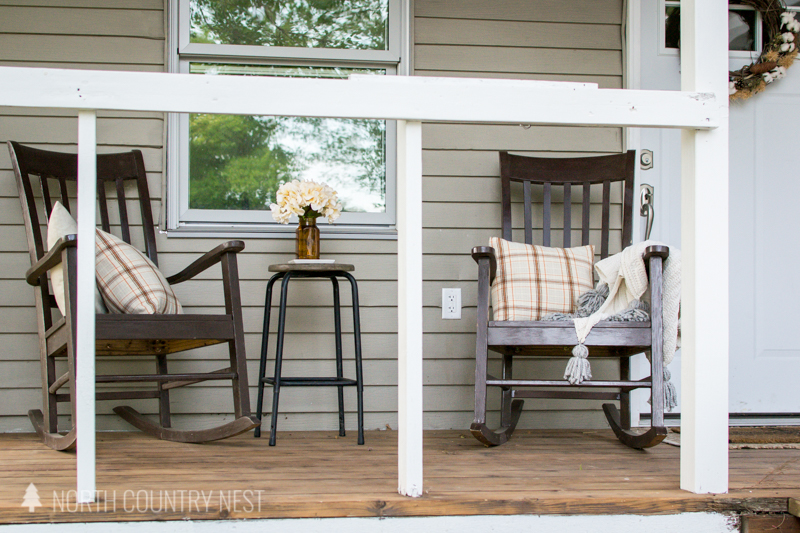 brown rocking chairs on front porch