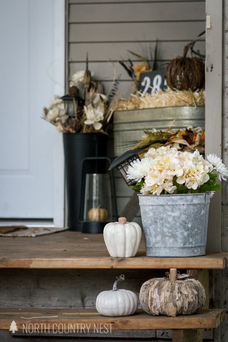 pumpkins and galvanized bucket